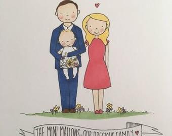 Custom family portrait - Personalised hand drawn illustration