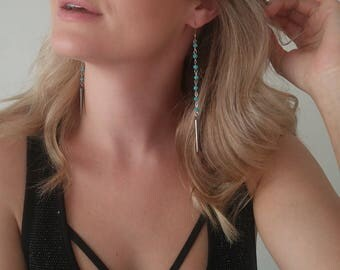 SPIKE AND CHAIN turquoise drop earrings
