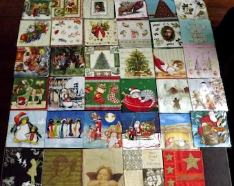 35 different Christmas themed paper napkins