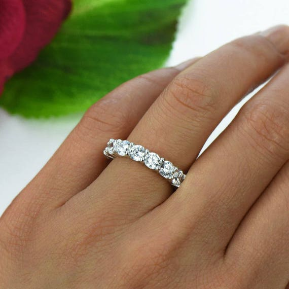 4 ctw Full Eternity Ring, Round Wedding Band, Engagement Ring, Man Made White Diamond Simulants, Bridal Ring, Promise Ring, Sterling Silver