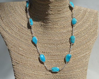 Arizona Turquoise and Silver Chain Necklace