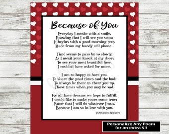 Valentine's Day Poem, Love Poem Printable, Poetry Print, Gift for Boyfriend, Husband, Finance Poem, Wife Poem, Valentine's Day Card