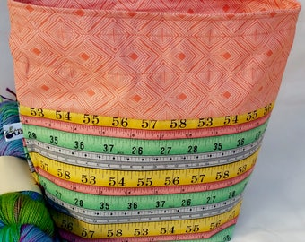 Sock to Shawl WIP Wedge Drawstring Project Bag, Pastel Rulers, Measuring Tape, Knitting Accessory, Tote Nag, Knit, Crochet, Yarn Bowl