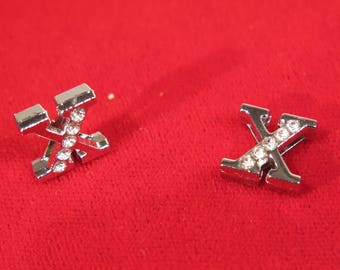 """BULK! 30pc """"letter X"""" 8mm slide charms in antique style silver (BC1375-X)"""