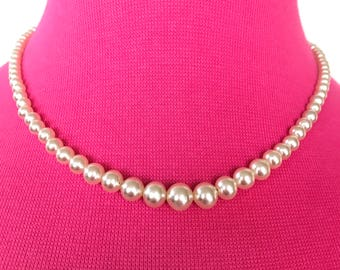c. 1920s Sterling Art Deco pearl necklace