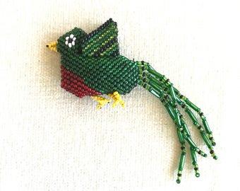 SALE Green beaded bird pendant