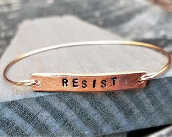 RESIST: Hand-Stamped Rose Gold Simple Bangle