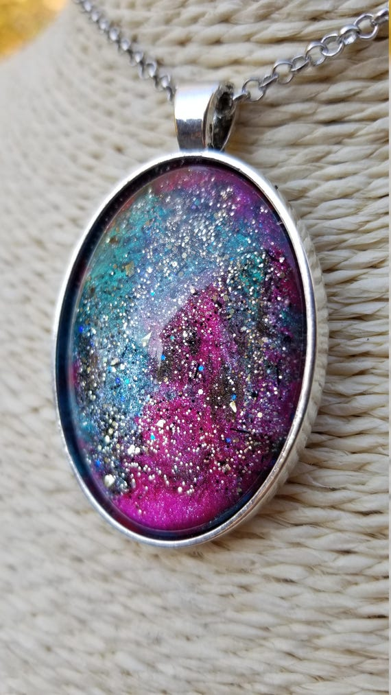 ONE OF A KIND: Hand-painted Galaxy Pendant (Purple, blues, pinks & greens)