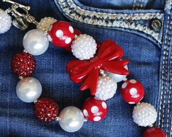 Red and White Bow Bracelet, Baseball Bracelet, Bubblegum Jewelry, Chunky Beads, Cake Smash, Birthday Outfit, Girls Jewelry, Holiday Gift