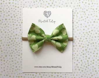St. Patrick's Day Green Shamrock Print Fabric Bow on Nylon Headband or Alligator Clip Baby Toddler Kids
