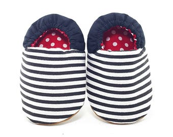Black and White Stripes Soft Soled Baby Shoes | Fabric Baby Shoes | Handmade Baby Booties | Prewalker Shoes | Non Slip Baby Shoes