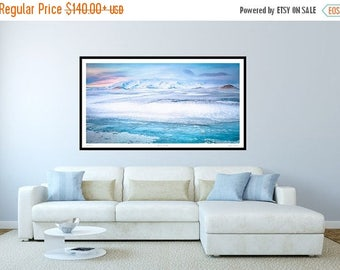 ON SALE Panoramic Art, Panorama Blue, Iceland Panorama, Iceland, Extra large wall art, Oversized art print, huge wall art, Crionna,