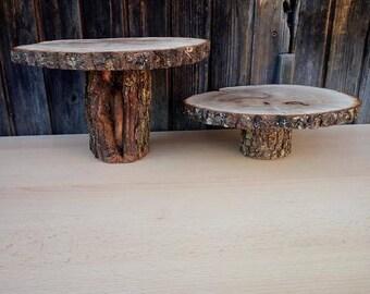 Wood cake stand, 8