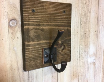 Modern Rustic Towel Holder, Robe Hook
