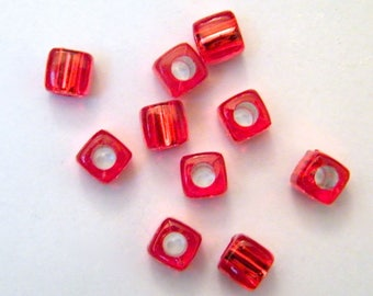 Synthetic, acrylic, silver, red beads, lots