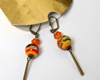 Brass, glass, lucite and bone earrings, holiday gift