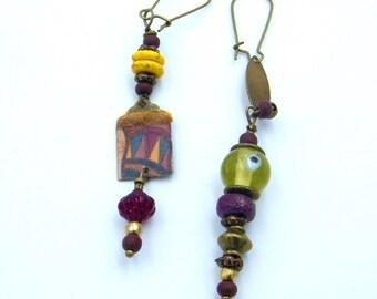 Boucles d'oreilles rustiques - bijoux dissociés - bijoux bohème - pendantes- artisanal - pièce unique - boho - les bijoux de francesca