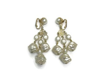 Signed Park Lane Earrings, Baroque Pearl Chandelier Earrings, Clip Earrings, Dangle Earrings, Costume Jewelry