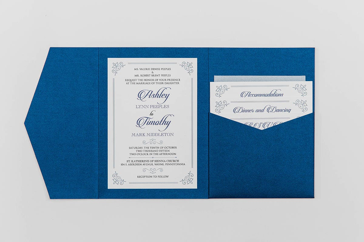 5x7 navy and silver formal classic pocket wedding invitation with 5x7 navy and silver formal classic pocket wedding invitation with details rsvp inserts and return address printing on envelopes stopboris Images