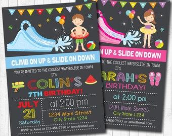 Water Slide Birthday Party Invitation, Water slide Invite, Pool Invitation, Pool Party, kids Invitation, Water slide party, Printable