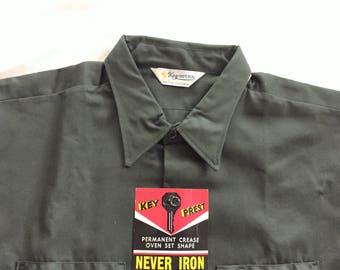 Deadstock Vintage 60s Key Imperial Dark Green Work Shirt 17 1/2-18