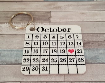 Wedding Date Calendar Key Chain | Remember the Date | Photo on the Back | Gift for Wife | Gift for Fiancee | Gift for Husband