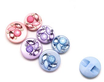 Set of 5 beads jewel buttons pink purple blue color buttons