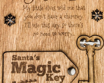 PERSONALISED Santas Magic Key - Christmas Key Engraved with Child's Name L1119