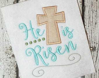 Easter Embroidery Design - Cross Applique Design - Easter Embroidery Saying