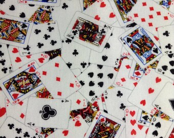 One Half Yard of Fabric Material - Playing Cards, White, Cards, Poker, Card Game