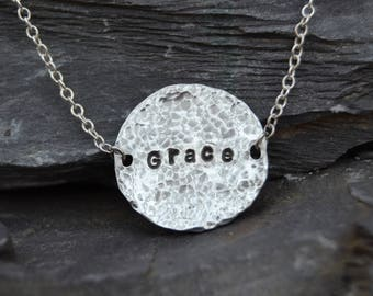 Grace Stamped necklace with hammered finish