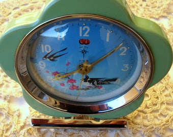 Antique Chinese POLARIS Mechanical Alarm Clock/ Swallow Bird Alarm Clock/ Shanghai China, In Excellent Working Condition/1960s/Very Rare