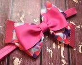 Multi coloured pink geometric print bow - Baby / Toddler / Girls / Kids Headband / Hairband / Hair bow / Barette / Hairclip