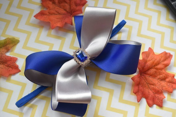 Royal Blue and Silver Bow - Baby / Toddler / Girls / Kids Headband / Hairband / Hair bow / Barette / Hairclip