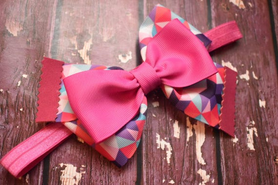 Multi coloured pink geometric print bow - Baby / Toddler / Girls / Kids Headband / Hairband / Hair bow / Barette / Hairclip