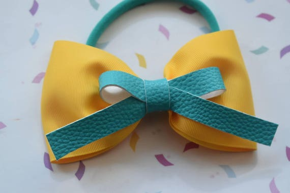 Yellow and coral glitter leaf bow - Baby / Toddler / Girls / Kids Headband / Hairband / Hair bow / Barette / Hairclip