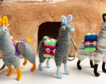 Tiny llama MAGNET Andean keychain