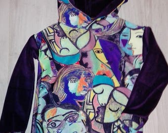 "Hoodie long sleeve ""When Picasso invites on our sweatshirts"""