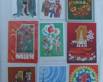 Soviet Vintage Postcards Congratulation Rare Collectible  Holiday card 1 may day