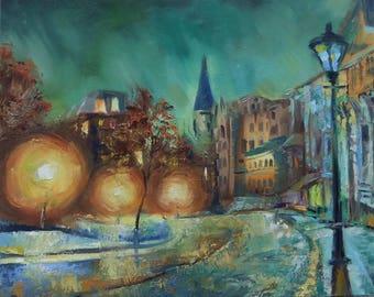 Picture Oil Landscape Painting- City Kiev  Andrew's Descent
