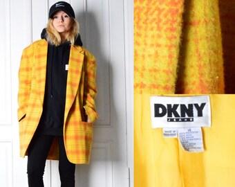 DKNY Vintage 90s Orange Check Wool Blend Blazer Size M/L