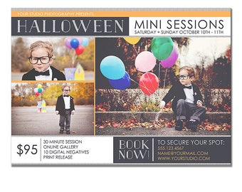 INSTANT DOWNLOAD - Mini Photography Sessions Template, Halloween, Pumpkin Patch,  5x7, Digital, Postcard, Costume, Trick or Treat, Minis