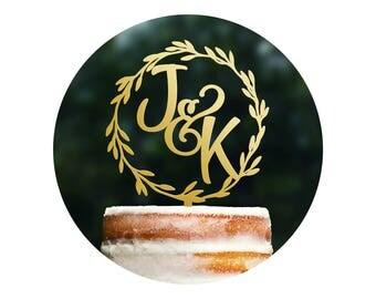 Modern Rustic Cake Topper, Laurel Cake Topper, Wedding Monogram, Wedding Initials Logo, Initials Cake Topper, Custom Cake Topper (T321)