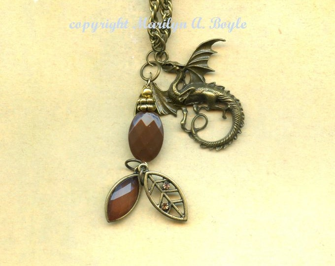 DRAGON PENDANT with CHARMS, bronze dragon with bronze pendant, jewelry, necklace, fantasy, 22 iinch chain,