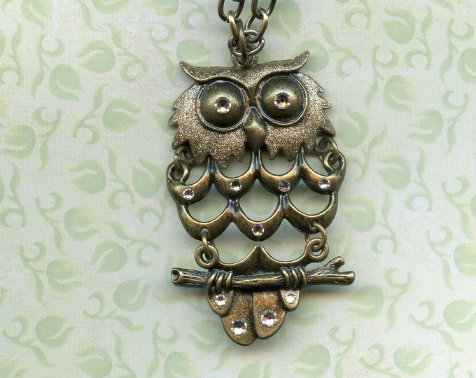 BRONZE OWL ENHANCED with gold metallic and Swarovski crystals, jewelry, pendant, bronze large link 20 inch chain,