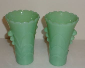 Anchor Hocking Green Jadeite Vases (2) Art Deco Style, Made in Ohio, Made in USA