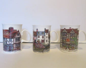 Three Vintage Dunnoon Cottage Mugs by Sue Scullard England Bone China