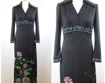 Summer Clearance Vintage 60s 70s Black Floral Maxi Dress - Hippie Hostess V Neck Empire Waist Dress - L