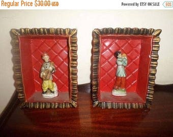 Save 25% Now Pair of Vintage Man and Woman Figurines Occupied Japan in Custom Wall Hanging Boxes