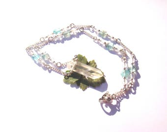 Quartz and Apatite: Stalactites, fairy necklace Choker approximately 45,5 cm